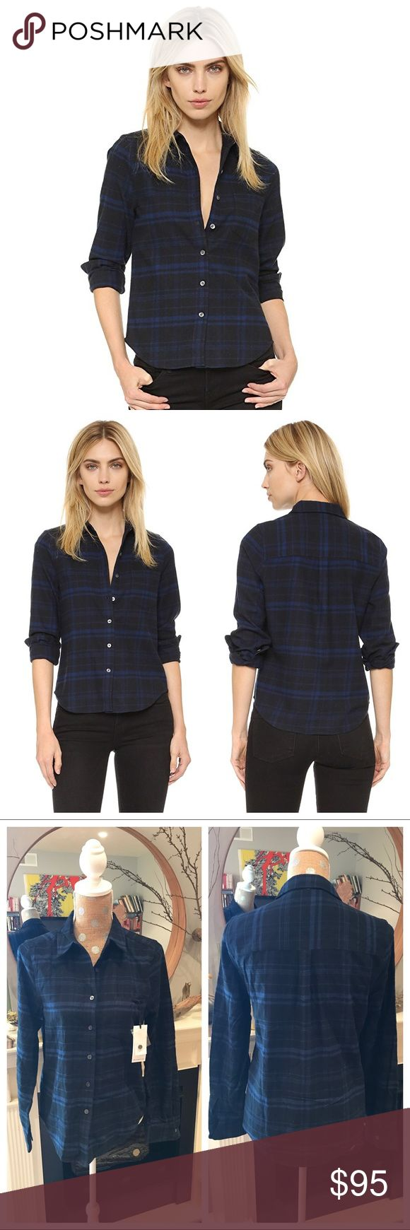 """Kate Moss Equipment London Plaid Flannel Shirt From Equipment's capsule collection by Kate Moss, a long-sleeve shirt brings a flashback to '90s grunge in soft plaid flannel. A borrowed-from-the-boys Kate Moss x Equipment button-down in plaid flannel. Fold-over collar and button placket. Patch front pocket. Long sleeves and button cuffs.  •26"""" length (size Medium).  •Front button closure.  •Point collar.  •Long sleeves with button cuffs.  •Curved hem.  •100% cotton.  •Chest pocket…"""