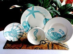 dinnerwear for coastal home | ... Pc-222-Fifth-COASTAL-LIFE-BLUE-Plates-Bowls-SERV-4-Dinnerware-Set-NEW