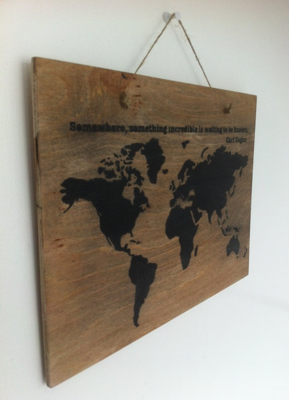 Rustic style World Map wall hanging/ plaque/ sign by SDSilhouettes, $30.00