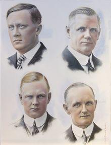 "Fundadores da ""Harley-Davidson"". Da esquerda para a direita:  1-. William S. Harley 2-. William A. Davidson 3-. Walter Davidson, Sr. 4-. Arthur Davidson"
