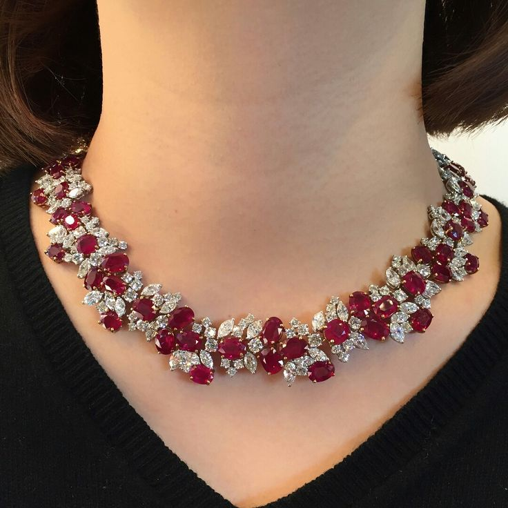 What to wear on a Saturday night? Decisions, decisions A Burmese #ruby and diamond necklace To be offered at Christie's Hong Kong #ChristiesJewels #Necklace