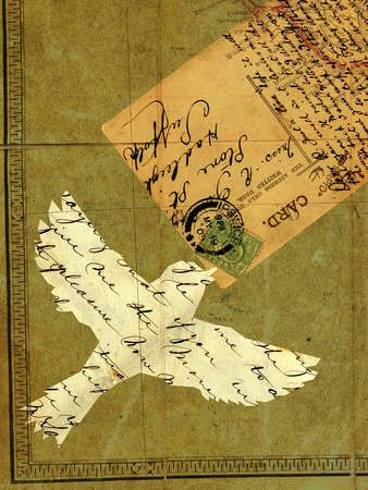Collage with a flying bird, vintage letters, postcard and stamps; stock art