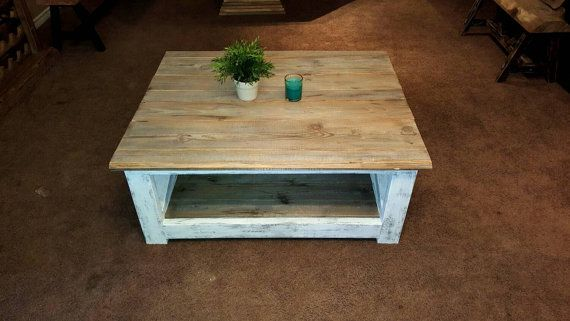 Distressed White Coffee Table Reclaimed by KastelHomesFurniture