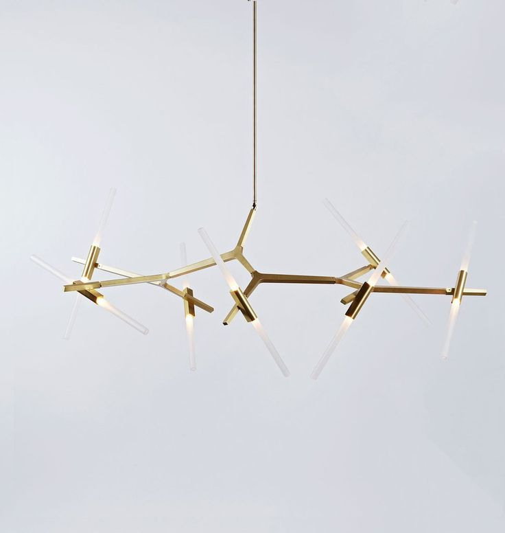 Chandelier - 14 Lights (Brushed brass/Straight-cut glass)