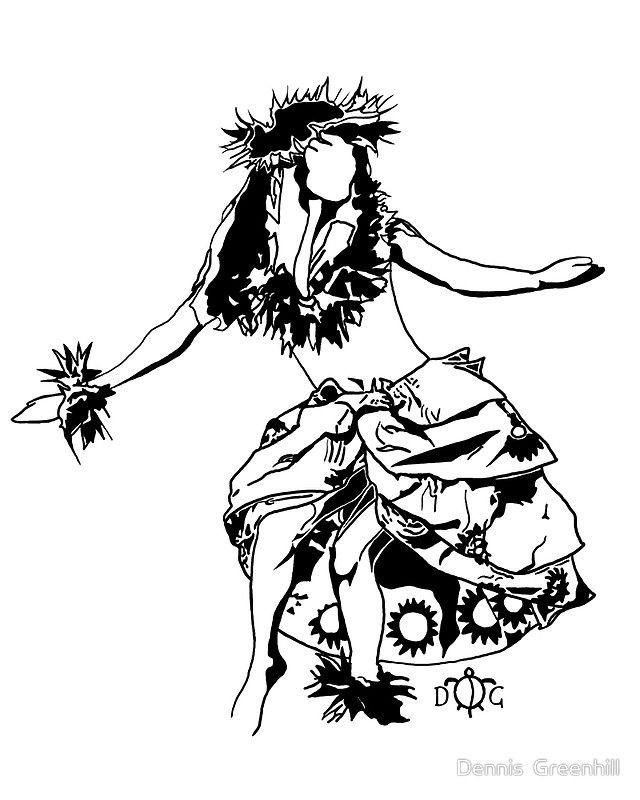 hula dancer 3 by dennis greenhill designs for bleach pen t shirts pinterest hula dancers. Black Bedroom Furniture Sets. Home Design Ideas