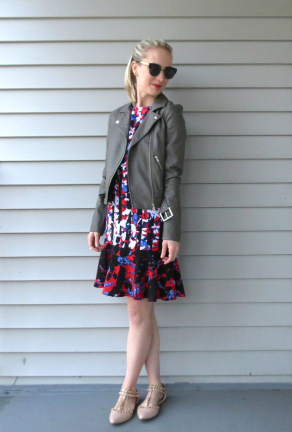 h&m gray leather jacket, peter pilotto target dress, valentino inspired flats