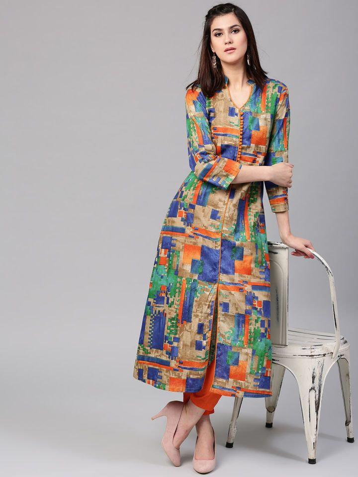 Aks Women Multicoloured Printed A Line Kurta A Line