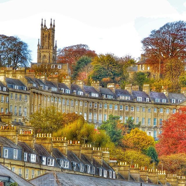 Camden Crescent and St. Stephen's Church in autumn, Bath.♔..