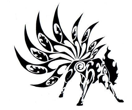 Tribal Ninetales Tribal Animal Tattoos Design.