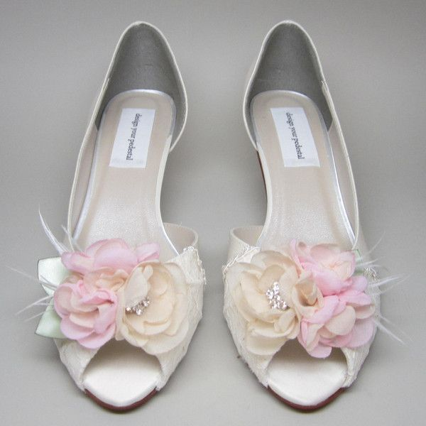 Ivory Wedding Shoes Satin Kitten Heels With Lace Overlay And Pink Flower Adornment