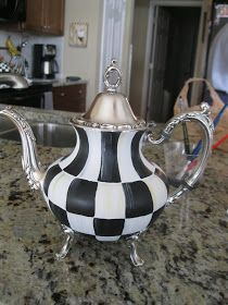 Pandora's Box: Checked Tea Pot- - MacKenzie-Childs Inspired
