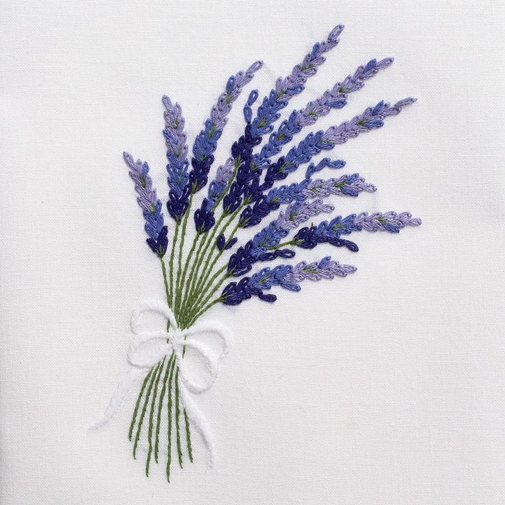 Lavender<br>Hand Towel - White Cotton