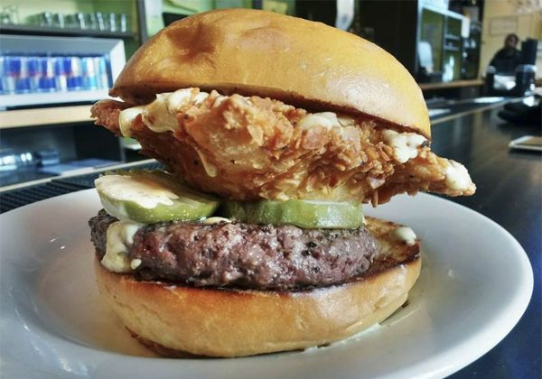 This Massive Burger Includes a Full Deep-Fried Pabst Blue Ribbon #fathersdayfood #fathersday trendhunter.com