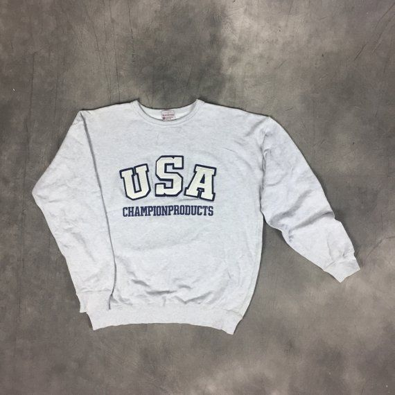 dd61b0c04 Vintage 90s Champion Sweatshirt   90s Champion USA Spellout Big logo Sweater    90s Fashion Style Champion Pullover Spellout Crewneck