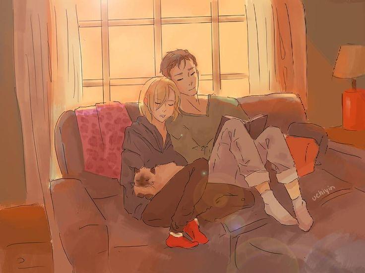 2,761 отметок «Нравится», 5 комментариев — Emma • (m/w @viktoryuuri) (@yuuriviktor) в Instagram: «Yuri and Otabek dozing off together  •  Cr: uchiyin •  Please credit the artist if you repost this…»