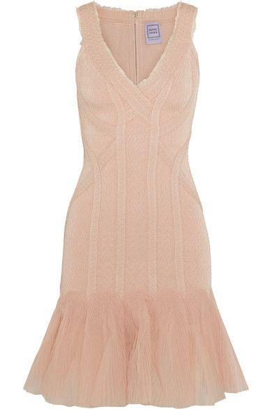 Hervé Léger - Tulle-paneled Jacquard-bandage Mini Dress - Cream -