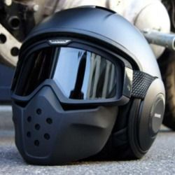shark raw motorcycle helmet on ground for review