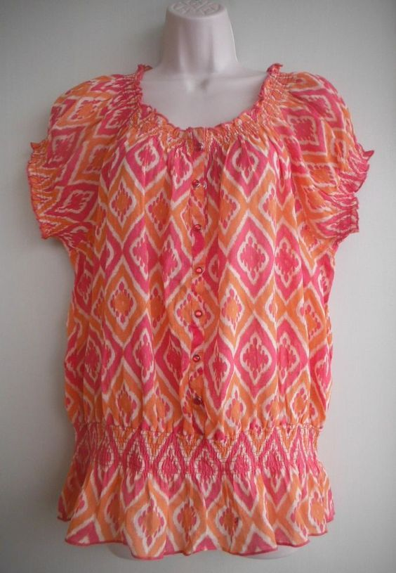 34e690030f7 NINE WEST Jeans Top Size XL Diamond Shapes Orange Deep Pink 100% Cotton