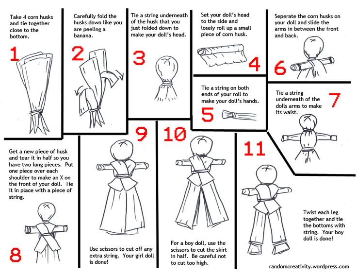 how to make a corn husk doll step by step - Google Search