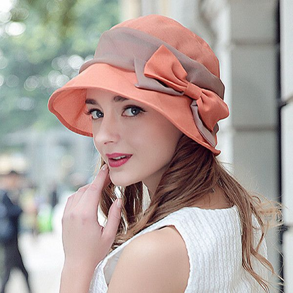 Bow silk sun hat for women summer wear UV protection hats Supernatural Style | https://styletrendsblog.blogspot.com/