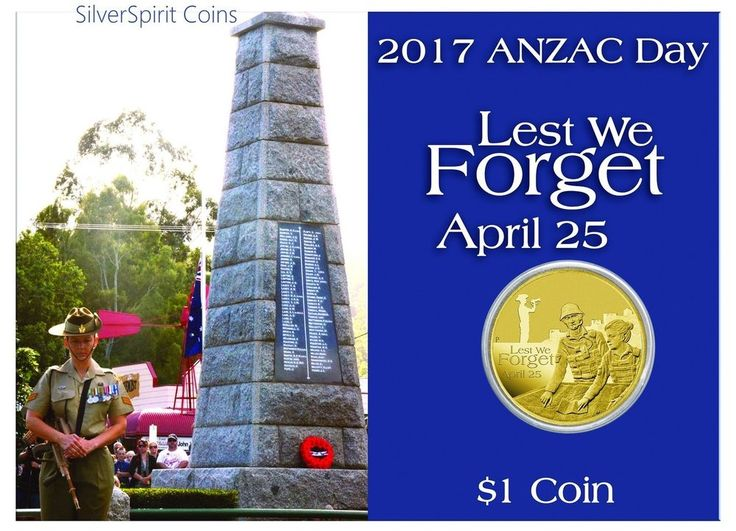 2017 ANZAC DAY LEST WE FORGET Coin on Card