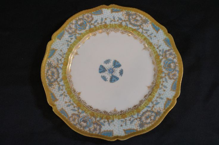 Set of 5 Haviland Limoges Blue Peony With Intricate Gold Gilding C. 1903 - 1
