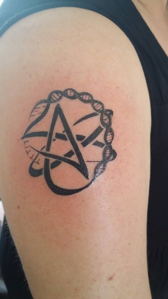 #Atheist 'A' tattoo with double helix