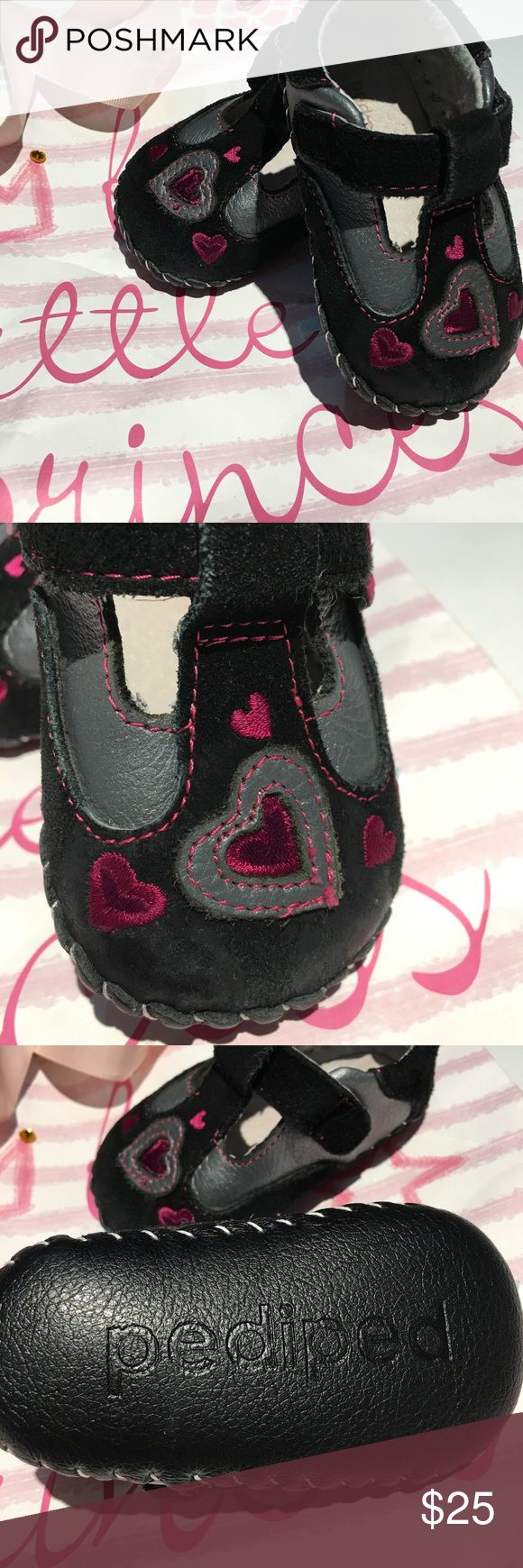 PEDIPED black heart Mary Jane crib shoes PEDIPED black heart Mary Jane crib shoes. Very comfortable, well made leather material. Some signs of wear, see pictures. Beautiful embroidered pink 💕 6-12 months.                                            Genuine leather upper Breathable leather lining All leather soft-sole with slip resistant diamond tread Mary Jane with a Velcro® closure Approved by the American Podiatric Medical Association for promoting healthy foot development pediped Shoes…
