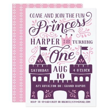 Purple Princess Party First Birthday Invitations - invitations custom unique diy personalize occasions