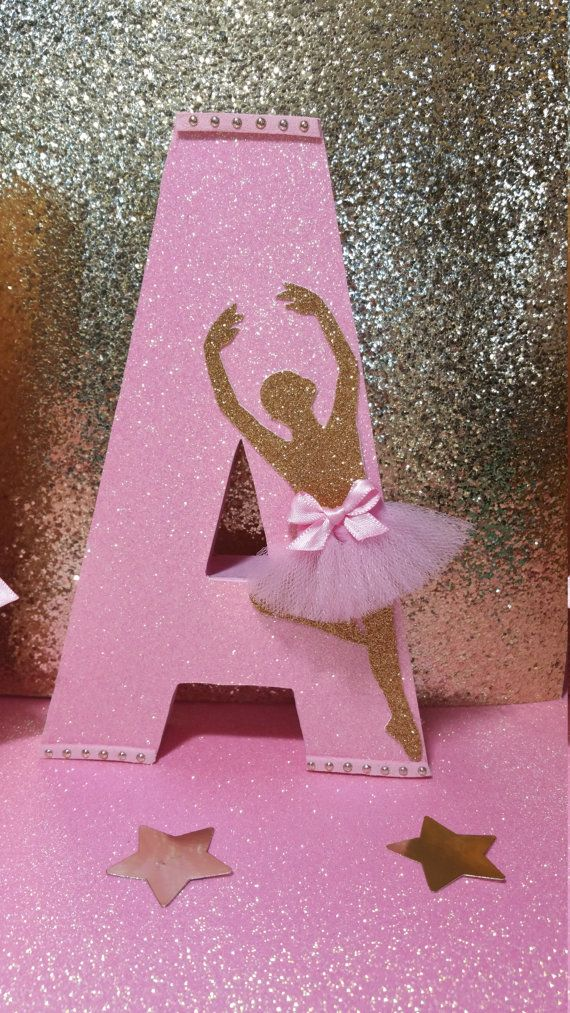 Pink and gold letters Ballerina party Dance by HeidiPartyCreations