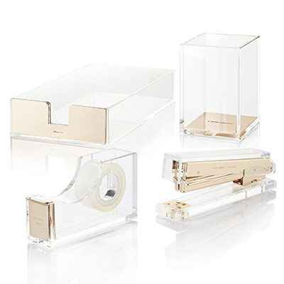 kate spade new york strike gold acrylic desk collection stapler tape letter tray