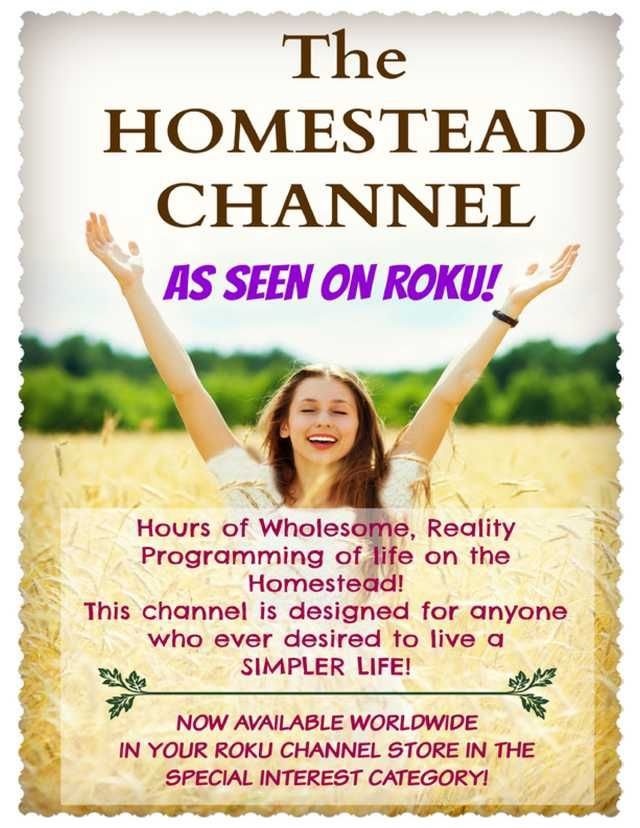 The Homestead Channel as seen on Roku! Hours of wholesome, reality programming of life on the homestead! Designed for anyone who ever desired to live a simpler life. Now available worldwide in your Roku channel store in the special interest category. Molly Green - January/February 2015 - Page 23