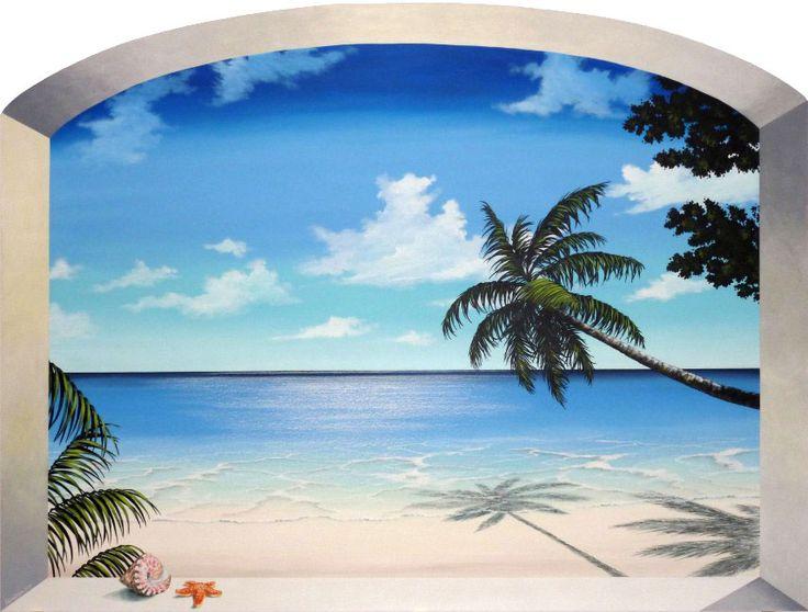 """trompe l'oeil """"mare tropicale""""   cm 120x160   dipinto a mano da Max e Elena Panizza   www.panizza.info"""