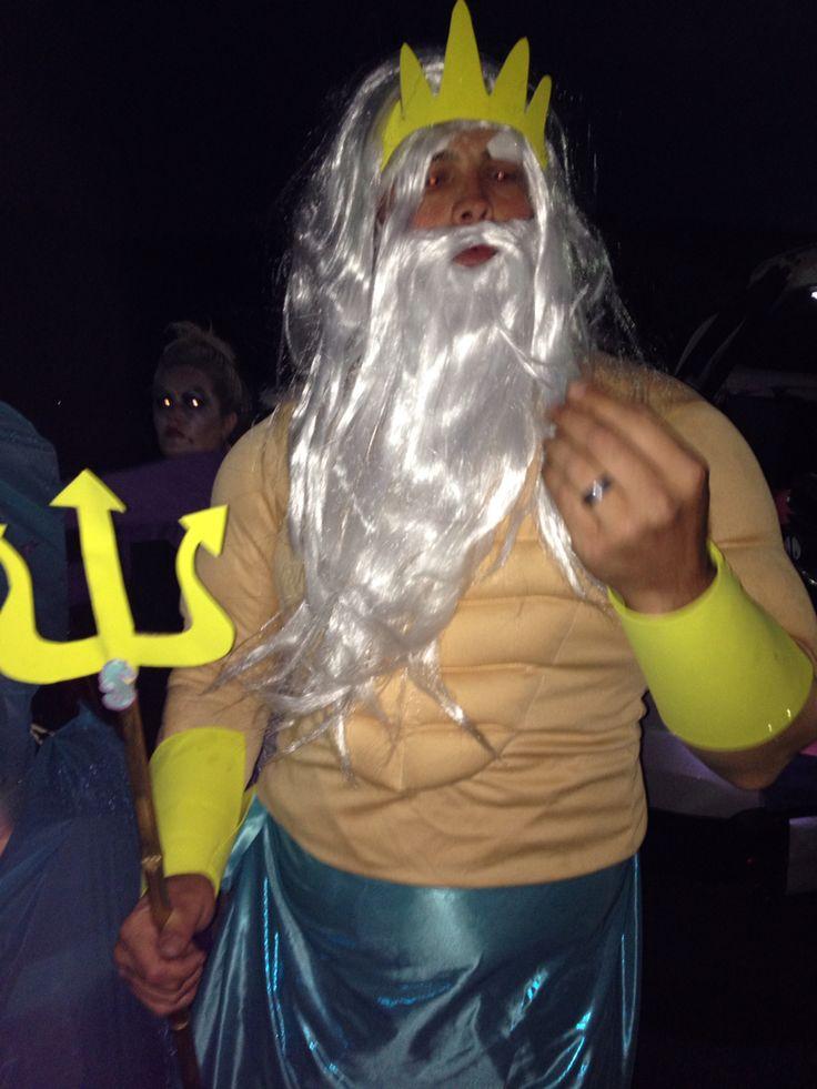 King triton-Ariel's grotto trunk or treat. Yellow foam from hobby lobby, blue fabric from Walmart, body suit/wig from party city