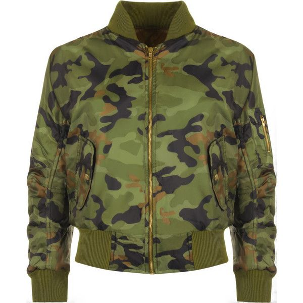 Dara Camo Bomber Jacket ($36) ❤ liked on Polyvore featuring outerwear, jackets, green, zip pocket jacket, camoflauge jacket, camouflage jacket, green jacket and padded bomber jacket
