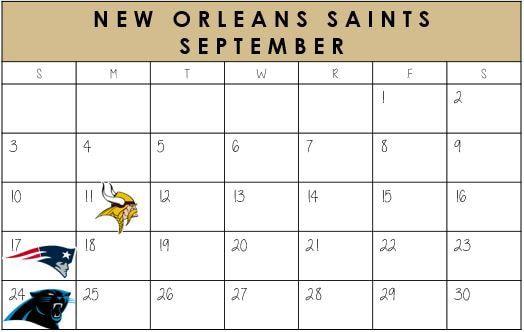 New Orleans Saints September Schedule 2017  #NewOrleans #NOLA #Saints #NFLSchedule #JordinsTurf