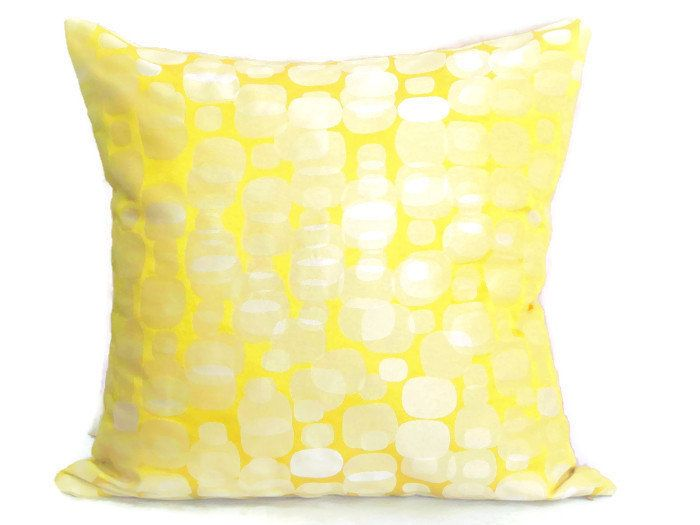 Abstract geometric throw pillow cover  20x20 12x20  Yellow green shimmer pillow sham  Silk cushion cover  Psychedelic modern sofa toss (28.00 EUR) by SABDECO