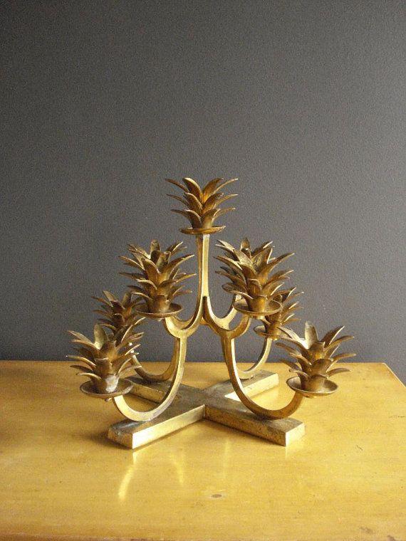 Amazing Brass Candlestand - Vintage Brass Candelabra - Nine Pineapple Candle Holders - Brass Candlestick Centerpiece