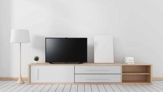 Smart Tv On The Carbinet Modern Living Room With Wooden White Floor 3d Rendering Modern Living Room White Floors Brown Walls
