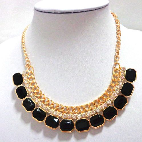 Gold Plate Black Resin And Crystal Collar Necklace. Starting at $18 on Tophatter.com!