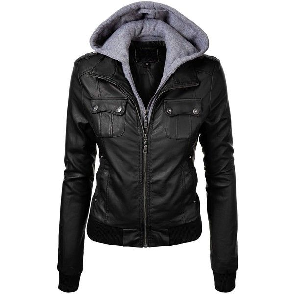 MBJ Womens Faux Leather Zip Up Moto Jacket With Hoodie found on Polyvore