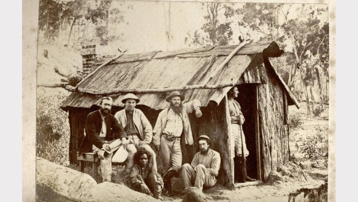 Bush life in early Ballarat. SOURCE: GOLD MUSEUM, SOVEREIGN HILL.