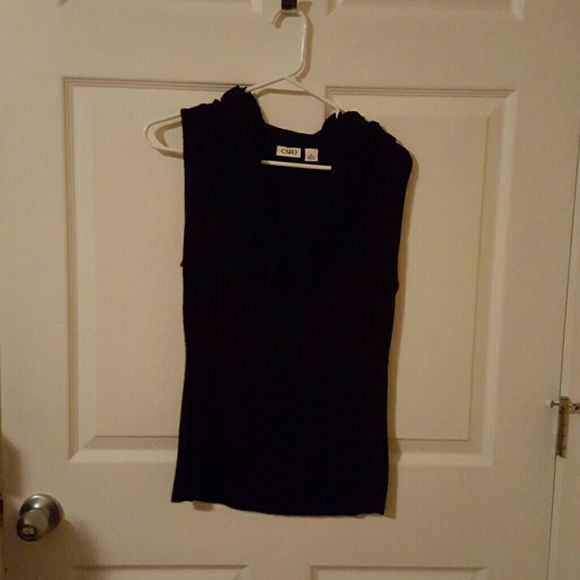 Black sleeveless ruffle top Like new. Worn a couple times. Cato Tops Tank Tops