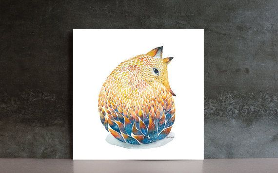 Fox Watercolor Art PRINT  blue yellow  forest by NORAillustration