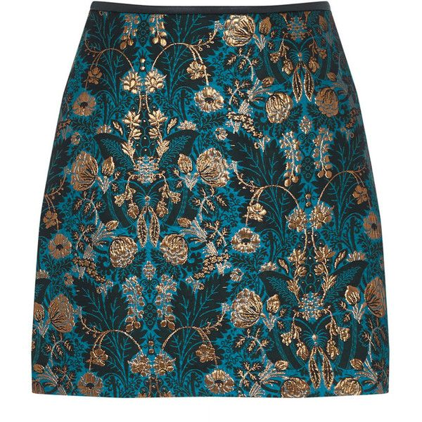 WARNER JACQUARD MINI SKIRT (£52) ❤ liked on Polyvore featuring skirts, mini skirts, bottoms, jacquard skirt, blue mini skirt, blue skirt, short skirts and short blue skirt