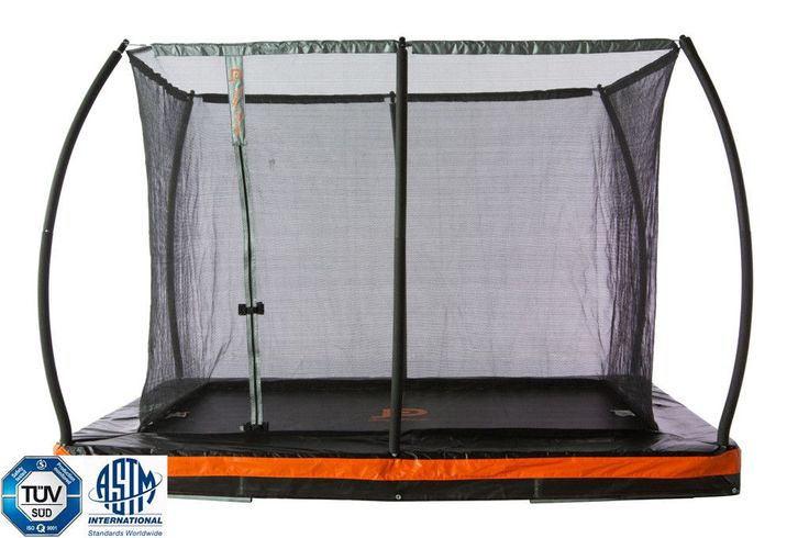 Inground 9' x 6.5' Rectangular Trampoline & Safety Enclosure
