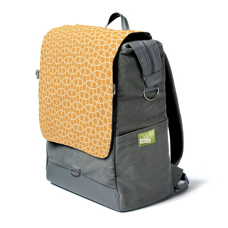 The Laine Avenue Convertible Backpack in the new Trellis pattern, shown in Apricot. This is the only backpack with a flap that instantly removes to become a purse! That's why we call it the convertible. Not as cool as a car, but pretty cool.
