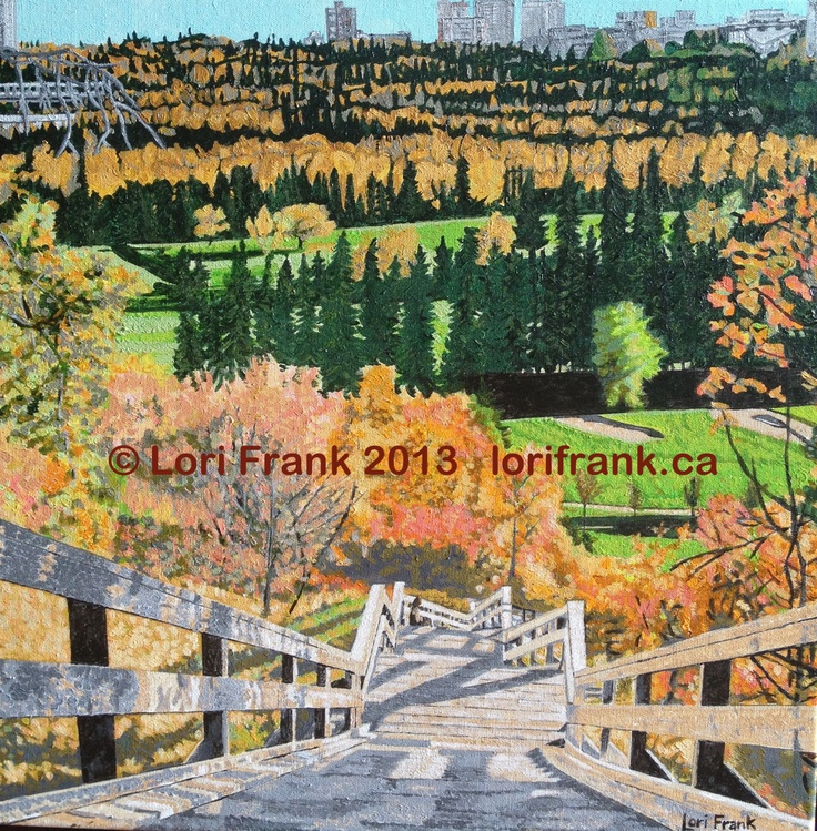 """Down.Fall Acrylic on canvas 20""""x20"""". Fall stairs leading to Edmonton's River Valley. Part of an ongoing local series by Lori Frank. Prints available. www.lorifrank.ca"""