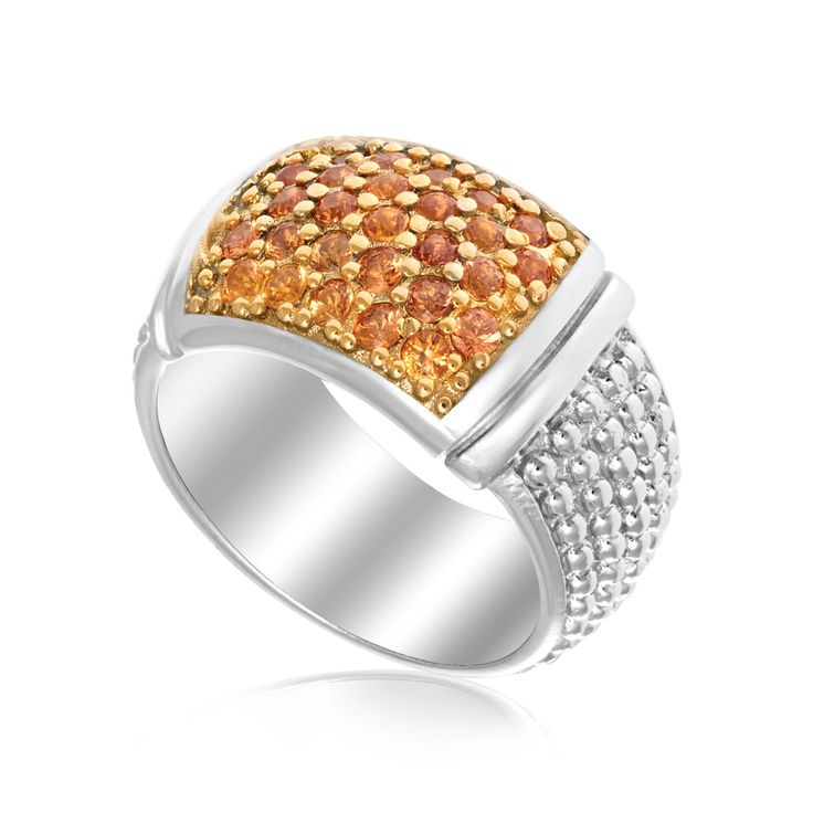 Sterling Silver Yellow Sapphire Embellished Popcorn Ring