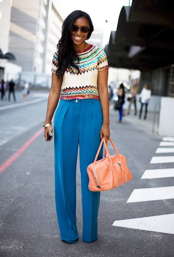 I love this look...pink & blue combo is fabulous!